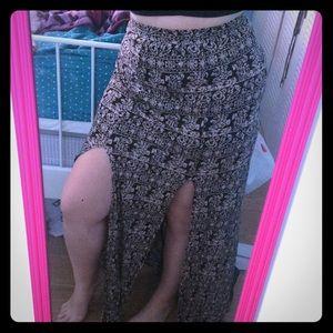 Double slit Aztec maxi skirt
